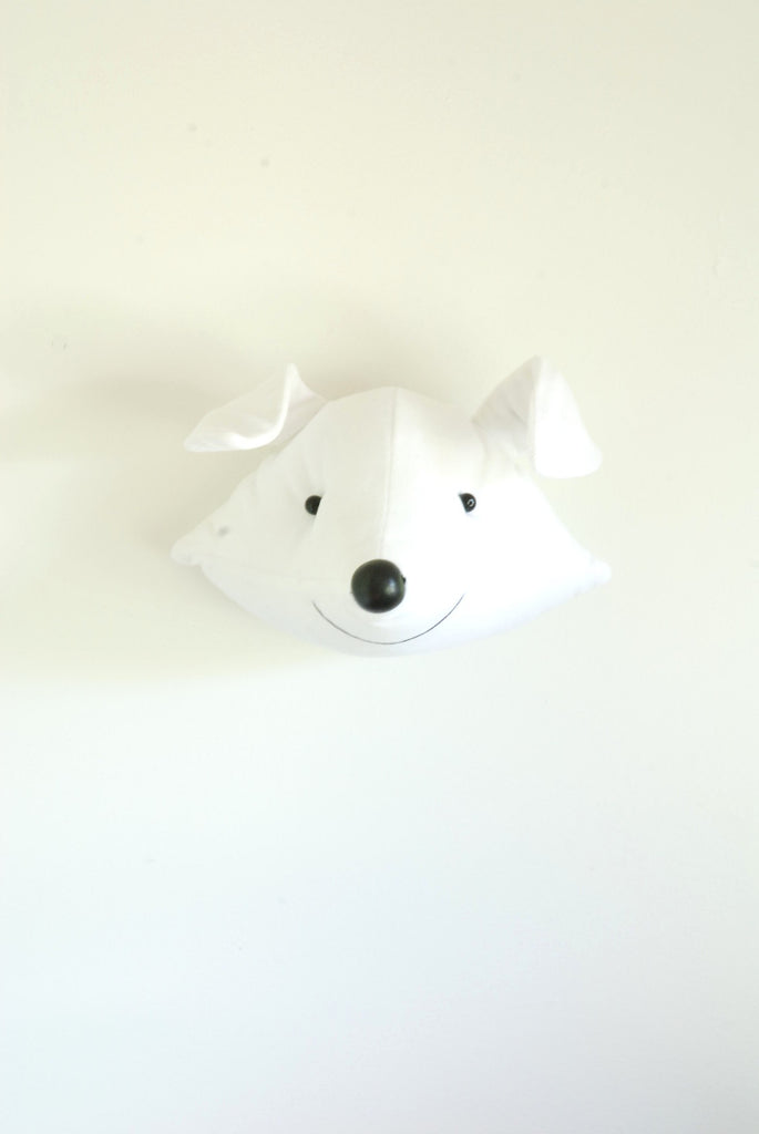 Faux Taxidermy Head White Fox by Atelier Caroline EXCLUSIVE