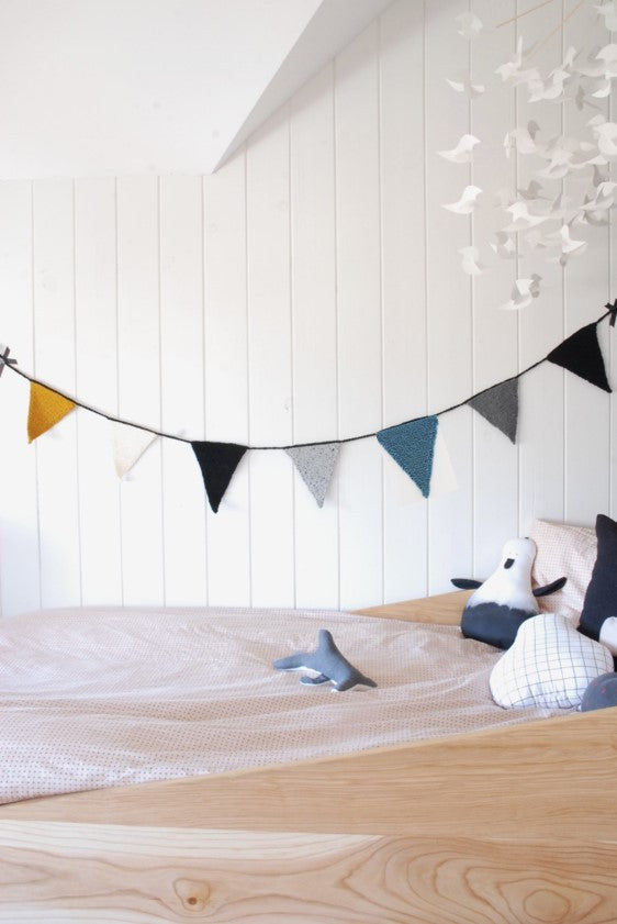 Knitted Flag Banner - Dusty Blue Handmade by La Fabrique Deco