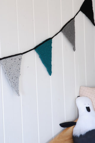 Knitted Flag Banner - Teal