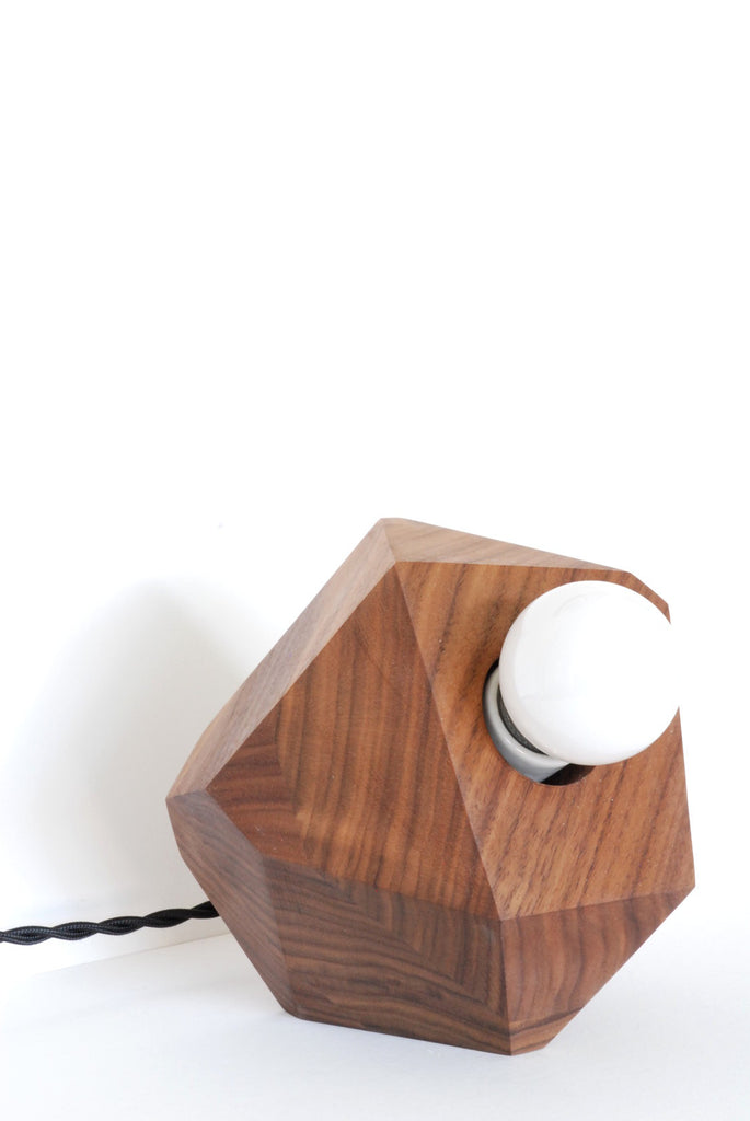 Geometric walnut table lamp handmade by La Fabrique Deco_front