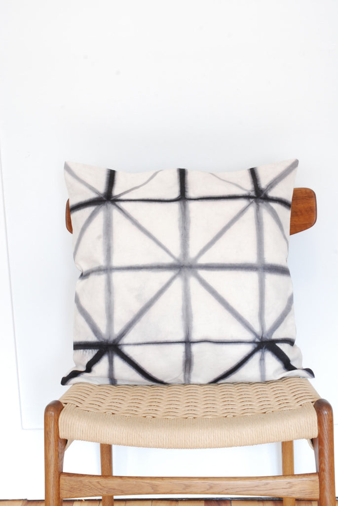 Gray Shibori 20x20 '' square pillow cover Geometric Angles by Gray Green Goods