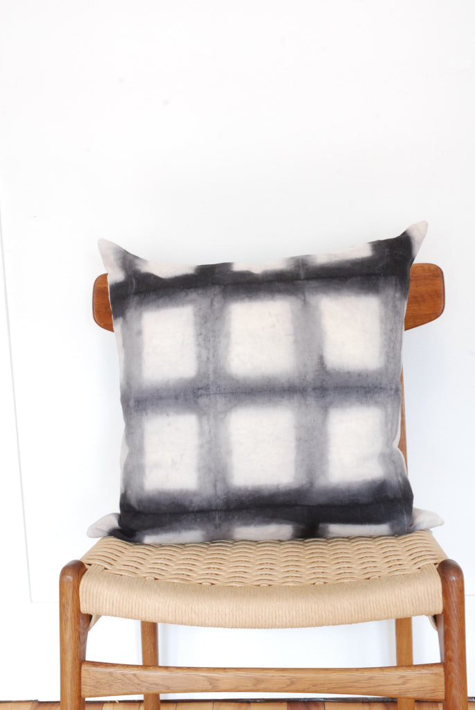 Gray Shibori 20x20 Pillow Cover Geometric Grid by Gray Green Goods