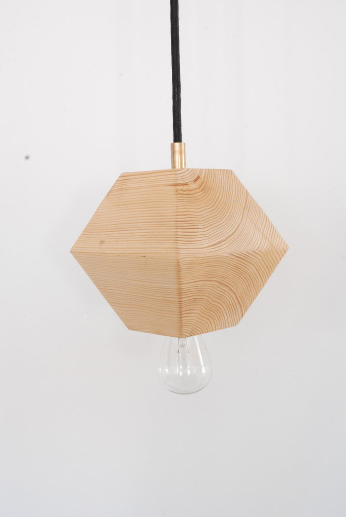 Hemlock wood diamond pendant lamp from La Fabrique Deco_front