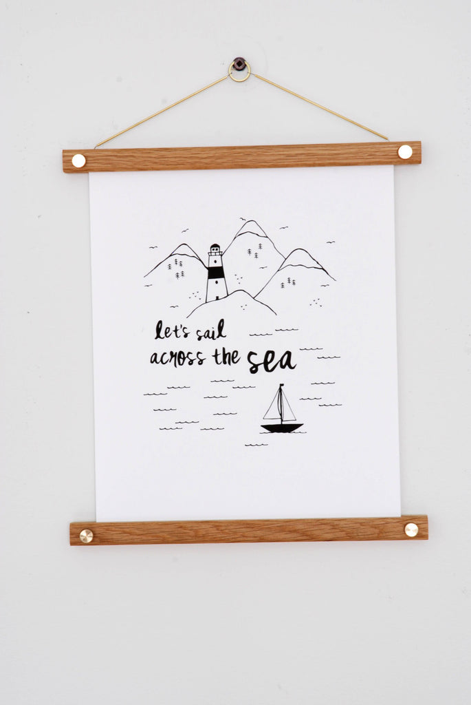 Let's Sail Across the Sea Modern Art Print 8'' x 10'' with 2nd Shift Studio Print Hanger