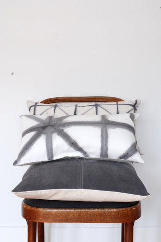 Gray Shibori Lumbar Pillow Cover - Big Triangle