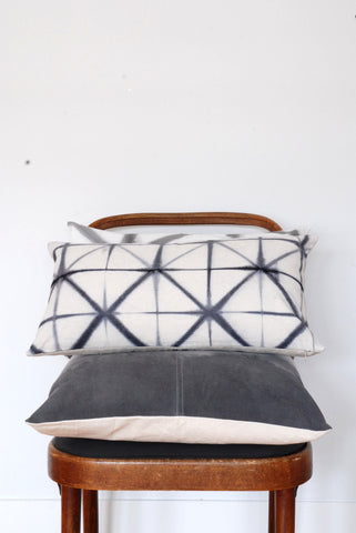 Gray Shibori Lumbar Pillow Cover - Small Triangle