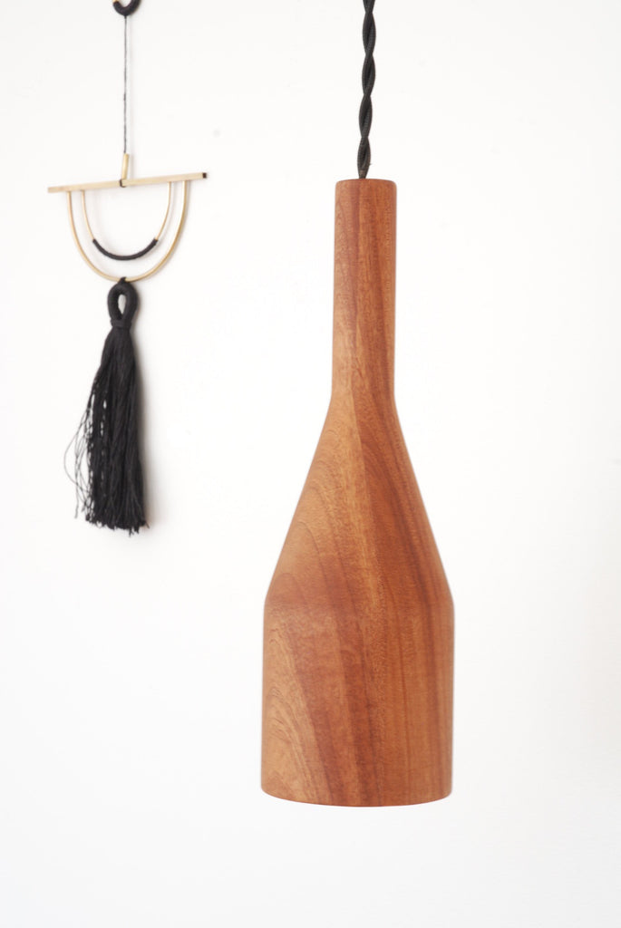 Sapele wood skittle pendant light - closeup WKNDLA