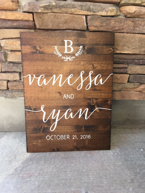 Wedding Welcome Sign With Crest - Sophia Collection