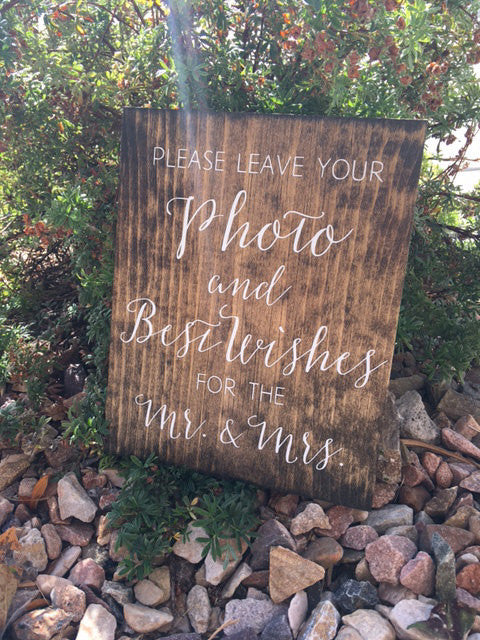 Leave Your Photo & Best Wishes Wedding Sign - Sophia Collection