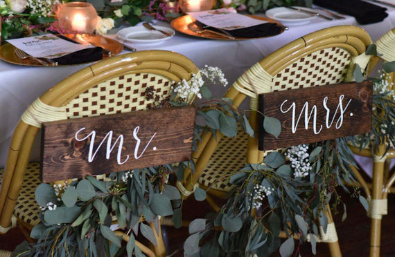 Mr & Mrs Chair Signs - Sophia Collection