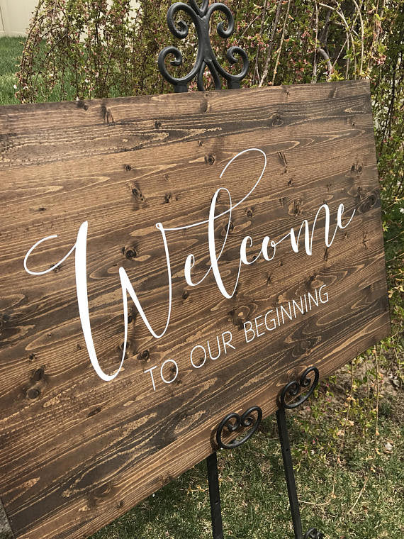 Welcome To Our Beginning Wedding Sign - Victoria Collection