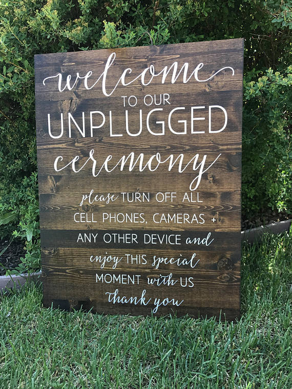 Unplugged Wedding Sign - Sophia Collection