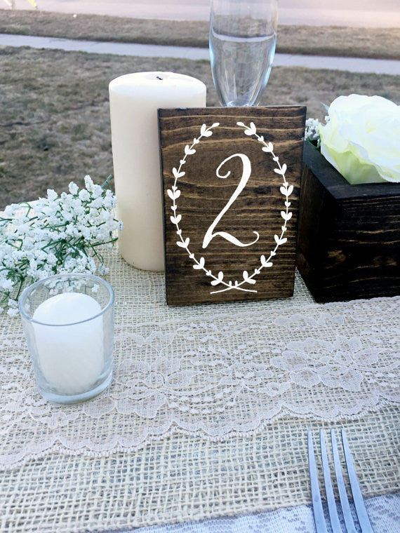 Double Sided Table Numbers - Wreath Collection