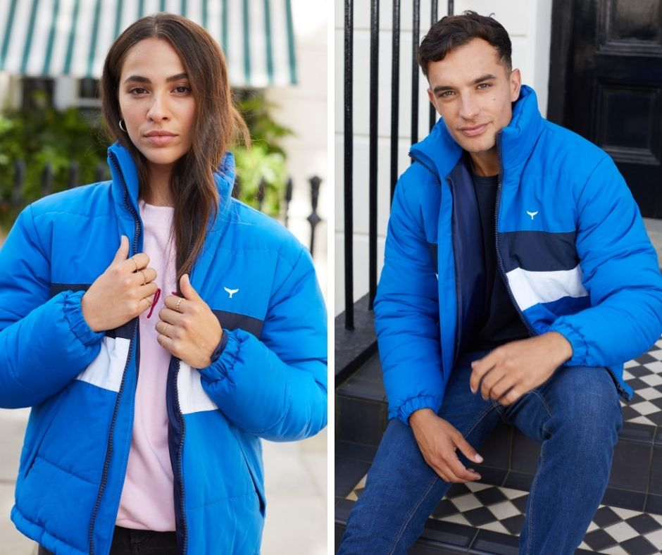 Models wearing cobalt blue Penzance Puffer Jacket