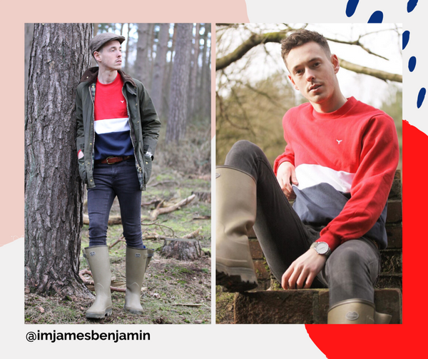 Menswear fashion influencer James Benjamin seen in the Red Atlantic Sweatshirt