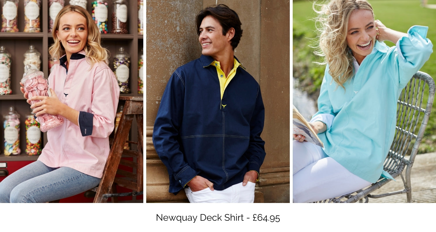 Newquay deck shirt available in pink, navy and mint green.