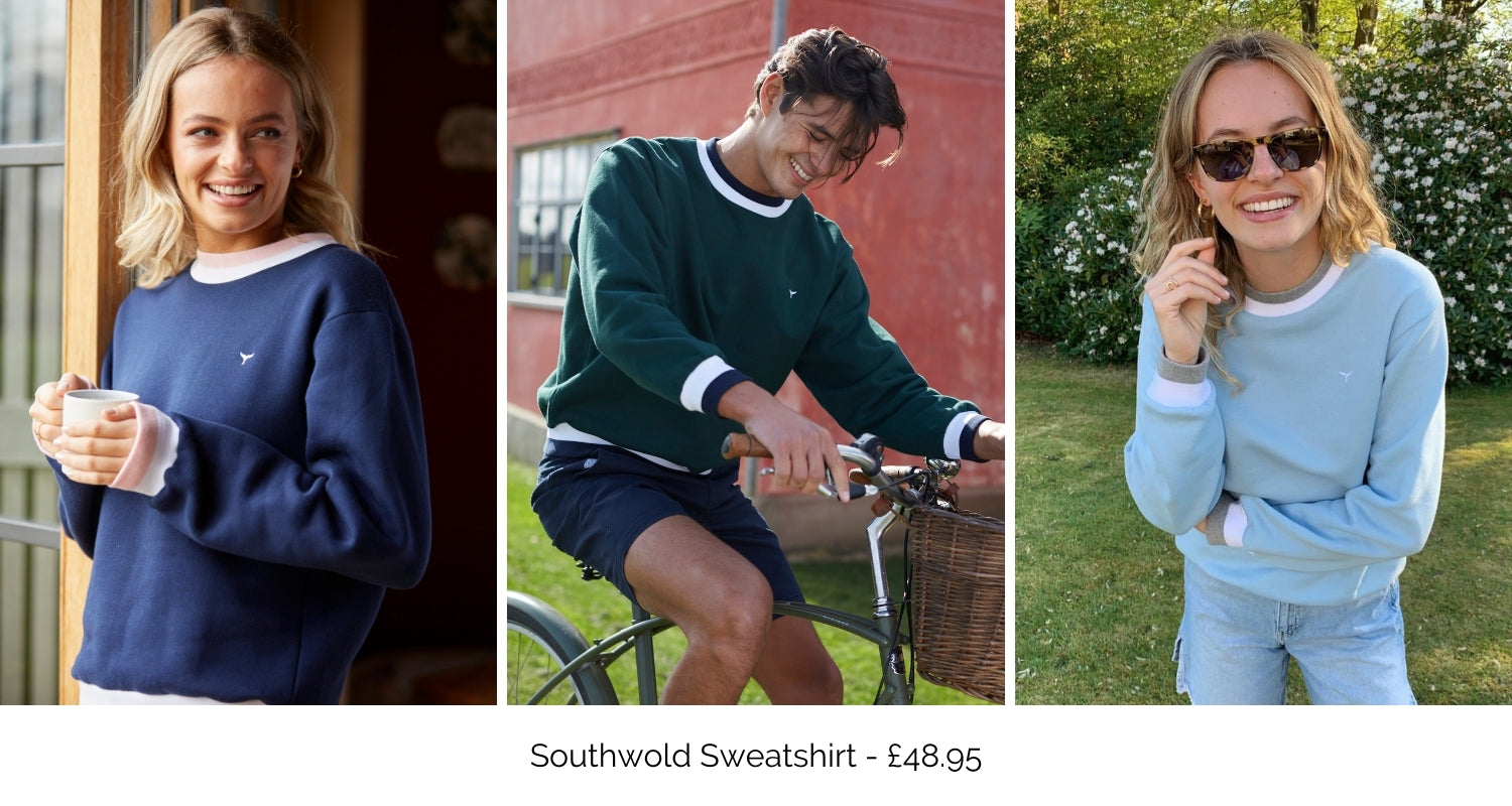 Southwold sweatshirt available in navy, green and blue