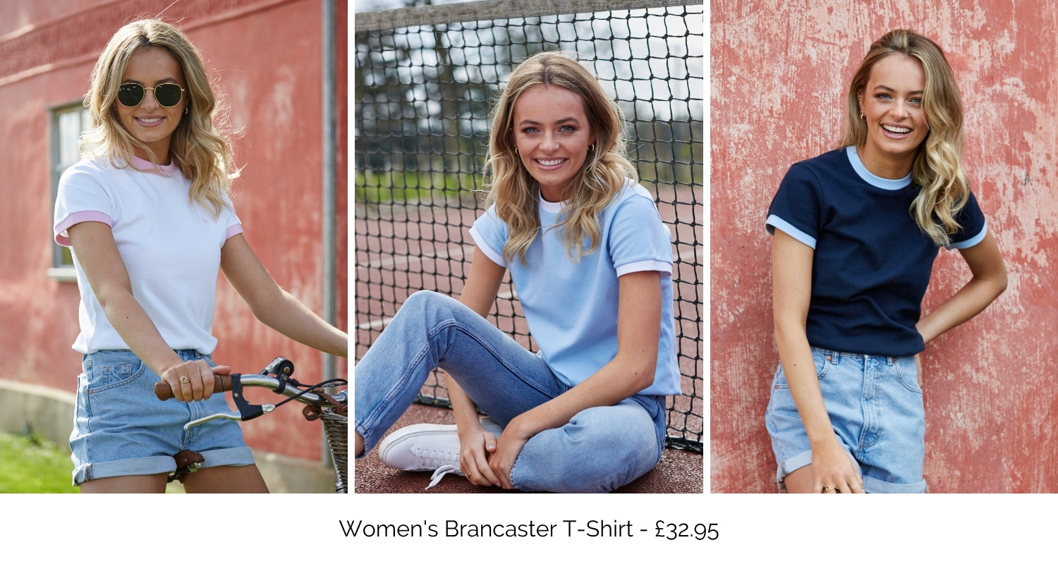 Women's Brancaster T-Shirt available in white, blue and navy.