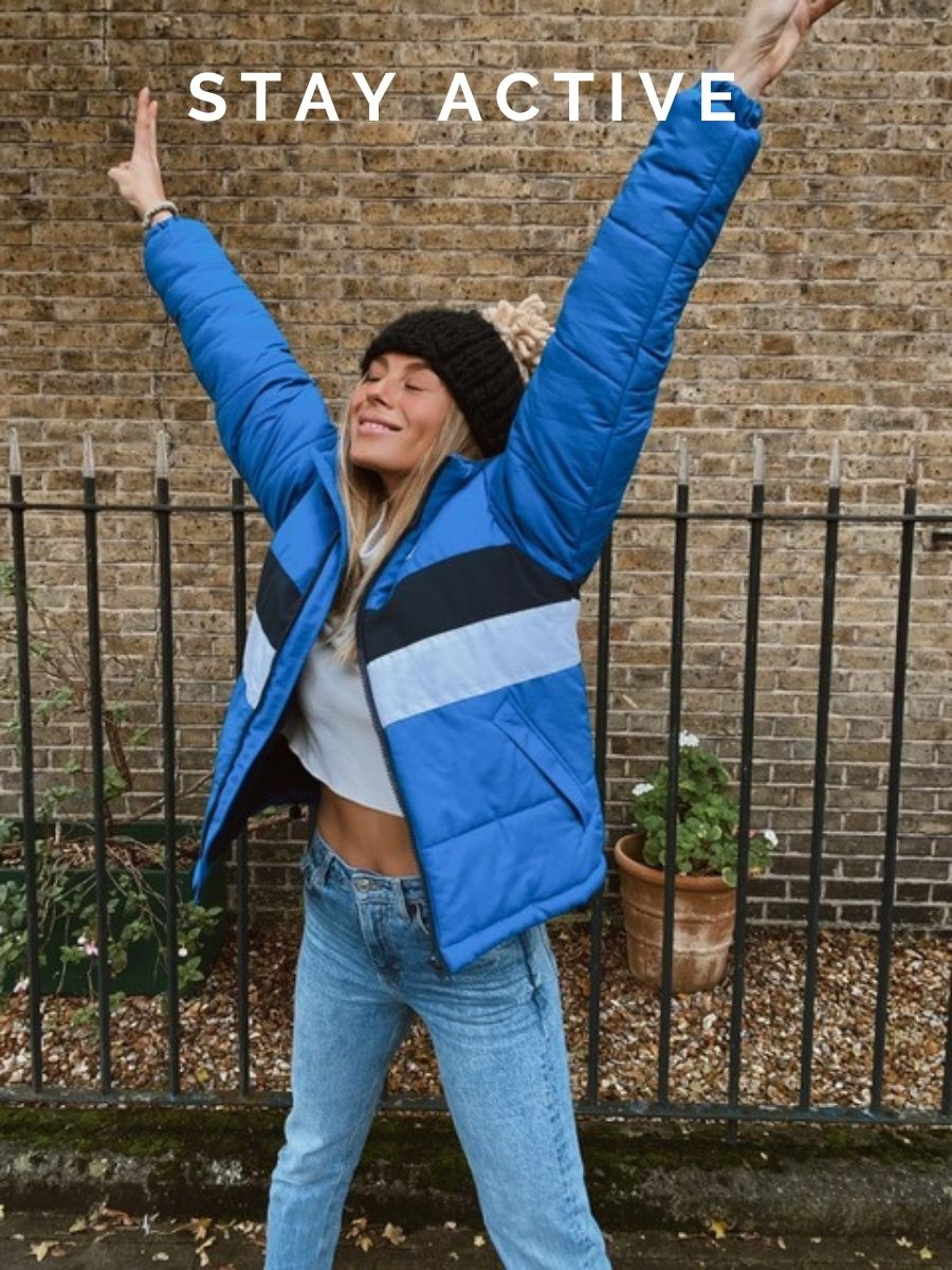 Model Frankie Gaff wearing Cobalt Blue Penzance Puffer Jacket