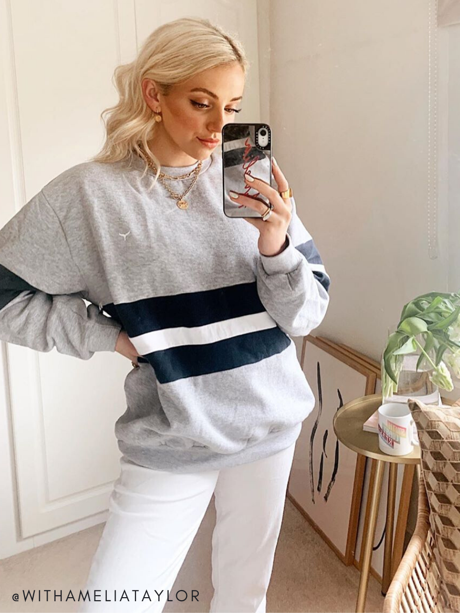 Influencer Amelia Taylor wearing the Grey Sowerby Sweatshirt
