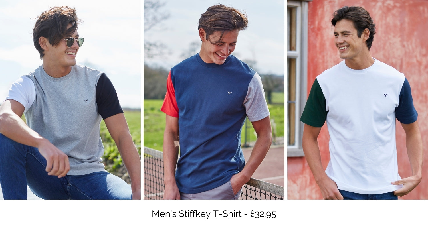Men's Stiffkey T-Shirt available in grey, navy and white