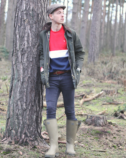 The Atlantic Sweatshirt worn in the countryside