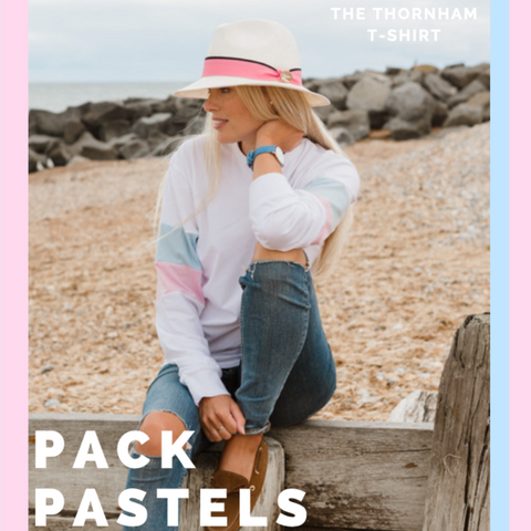 Long Sleeve Pastel Stripe T-Shirt Beach Shot