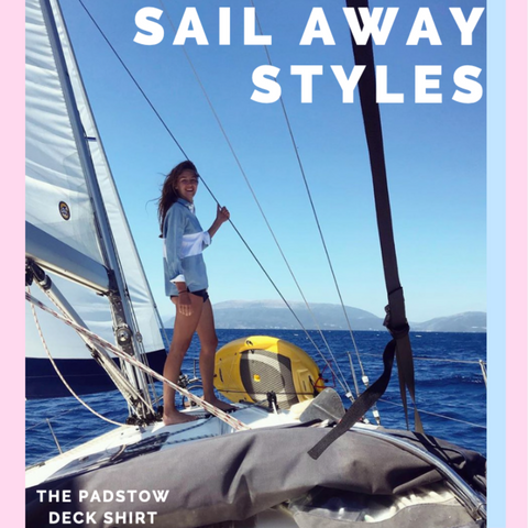 Pastel Blue and White Striped Deck Shirt Sailing On A Boat