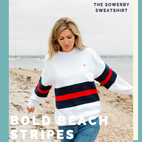 White & Red Striped Sweatshirt Beach Shot