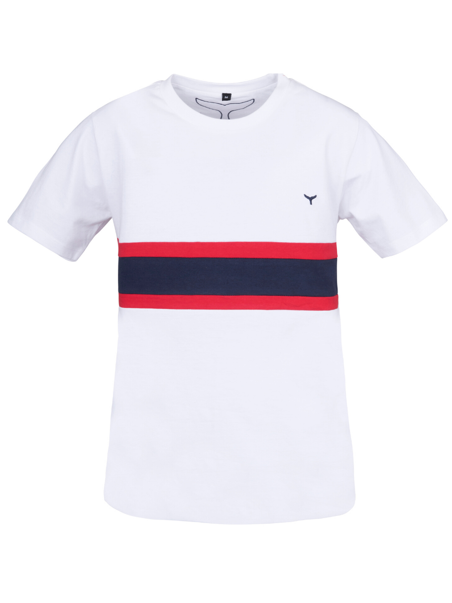 Men's Morston T-Shirt White/Red/Navy - Whale Of A Time Clothing