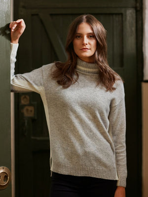 Women's Kensington Roll Neck Jumper - Grey/White