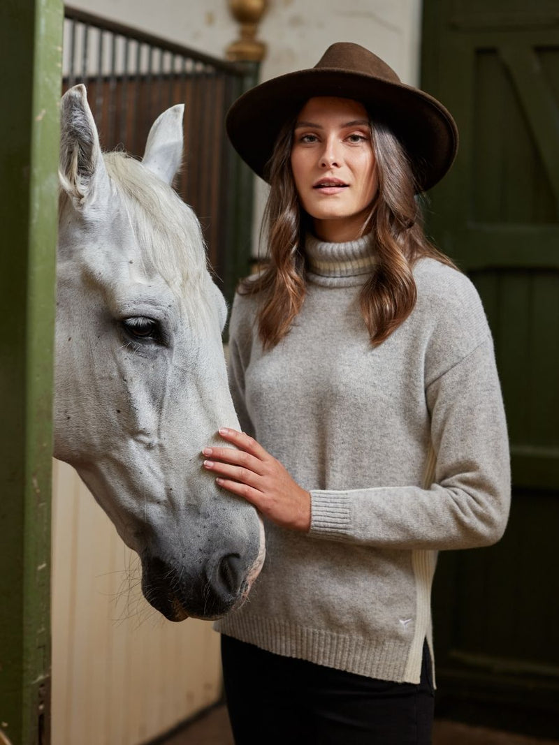 Women's Kensington Roll Neck Jumper - Grey/White - Whale Of A Time Clothing