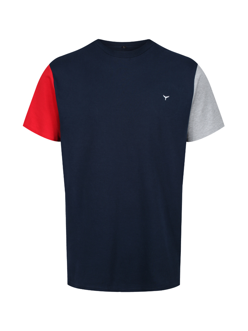 Men's Stiffkey T-Shirt - Navy/Red/Grey - Whale Of A Time Clothing