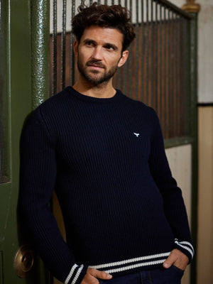 Men's Henley Ribbed Jumper - Navy - Whale Of A Time Clothing