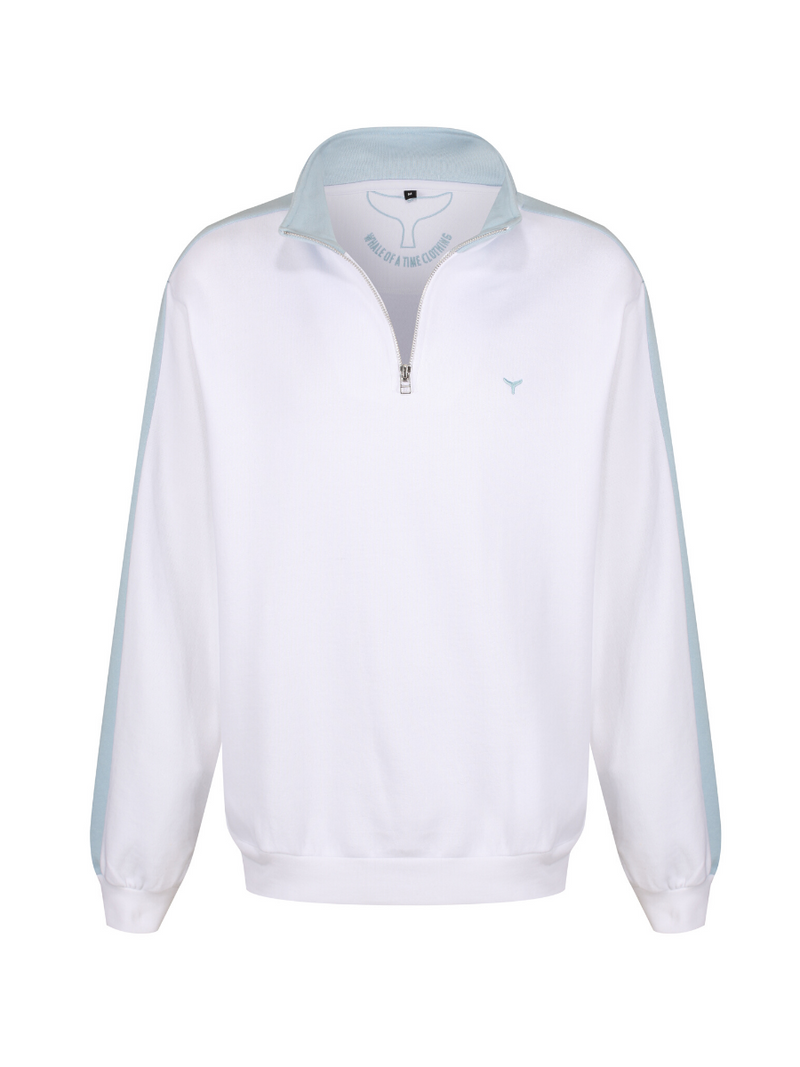 Cornwall Quarter Zip Sweatshirt White/Blue - Whale Of A Time Clothing