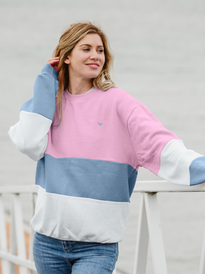 Limited Edition Baleen Sweatshirt Pink/Blue/White - Whale Of A Time Clothing