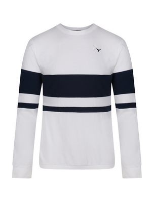 Blakeney Long Sleeved T-Shirt - White/Navy - Whale Of A Time Clothing