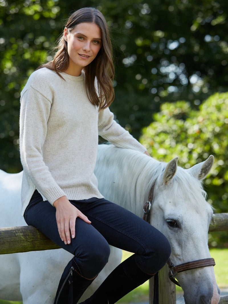 Women's Kensington Round Neck Jumper - Linen/White - Whale Of A Time Clothing