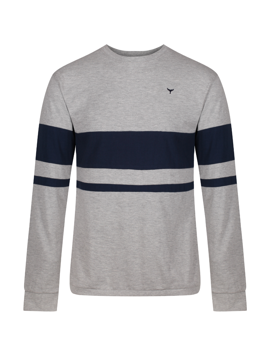 Blakeney Long Sleeved T-Shirt - Grey/Navy - Whale Of A Time Clothing