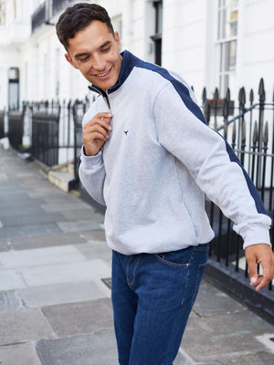 Norfolk Quarter Zip Sweatshirt Navy/Grey/White