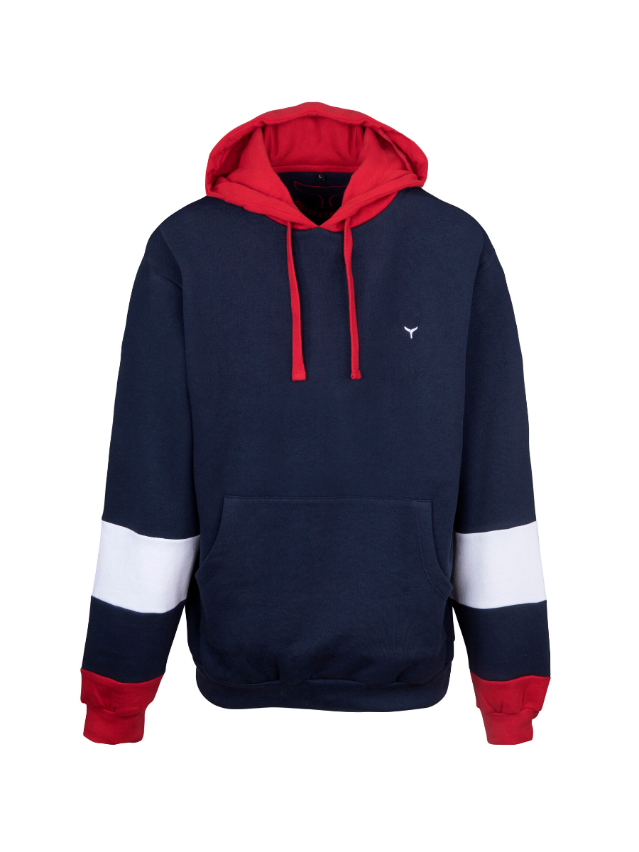 Kingsand Hoodie Navy/Red/White - Whale Of A Time Clothing