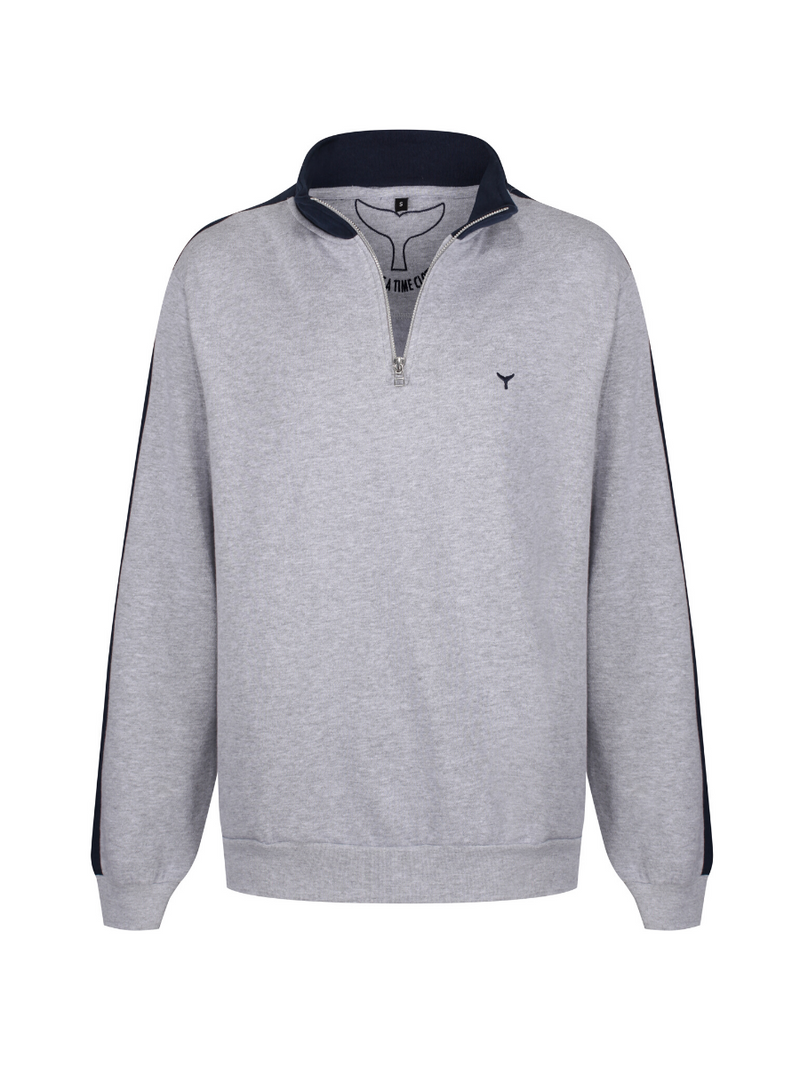 Cornwall Quarter Zip Sweatshirt Grey/Navy - Whale Of A Time Clothing