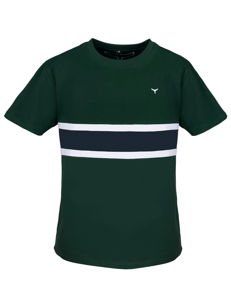 Men's Morston T-Shirt Green/White/Navy - Whale Of A Time Clothing