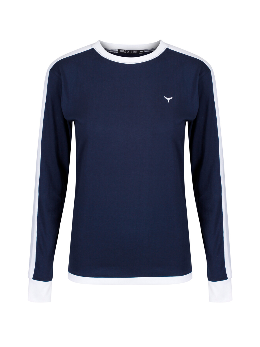 Holkham Long Sleeved T-Shirt - Navy/White - Whale Of A Time Clothing