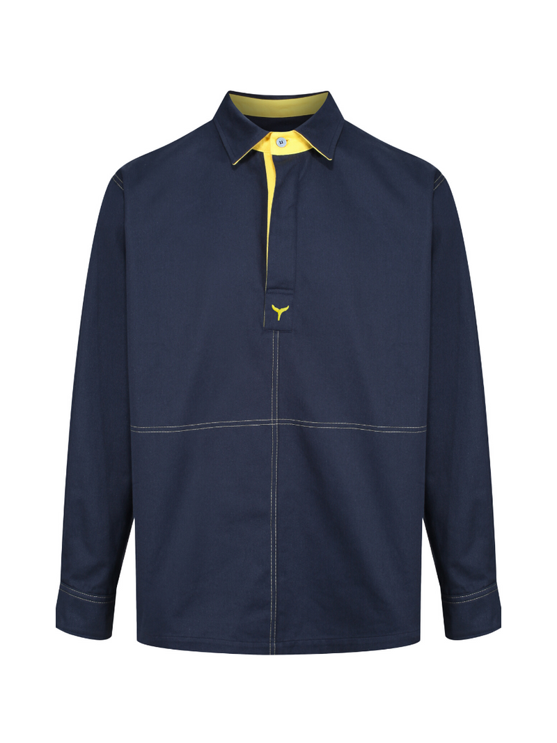 Newquay Deck Shirt Navy/Yellow - Whale Of A Time Clothing