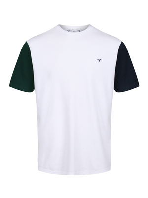 Men's Stiffkey T-Shirt - White/Green/Navy - Whale Of A Time Clothing