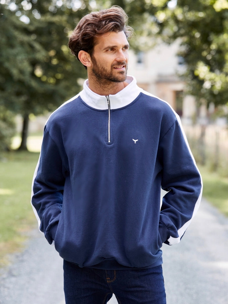 Cornwall Quarter Zip Sweatshirt Navy/White - Whale Of A Time Clothing