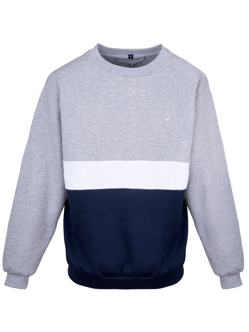 Atlantic Sweatshirt Grey/White/Navy - Whale Of A Time Clothing