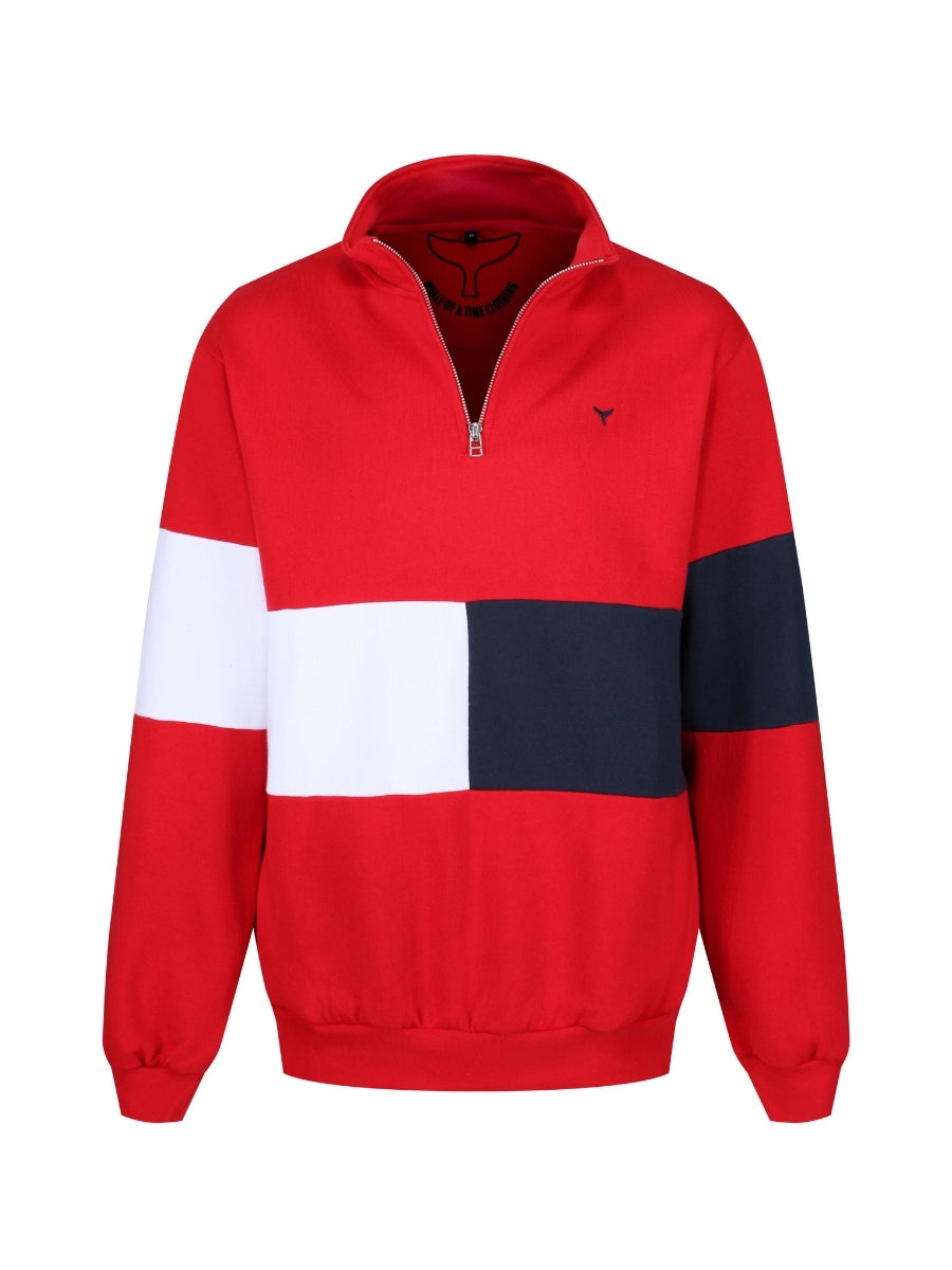 Norfolk Quarter Zip Sweatshirt Red/White/Navy - Whale Of A Time Clothing