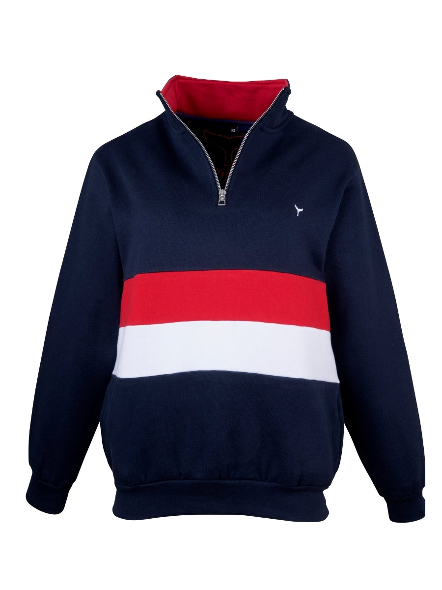 Suffolk Quarter Zip Sweatshirt Navy/Red/White - Whale Of A Time Clothing